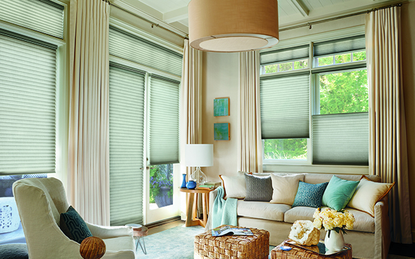 window shades Hunter Douglas duette honeycomb shades pirouette silhouette vignette modern roman alustra woven skyline gliding window shading