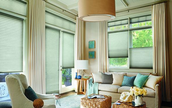 window shades Hunter Douglas duette honeycomb shades pirouette silhouette vignette modern roman alustra woven skyline gliding window shading