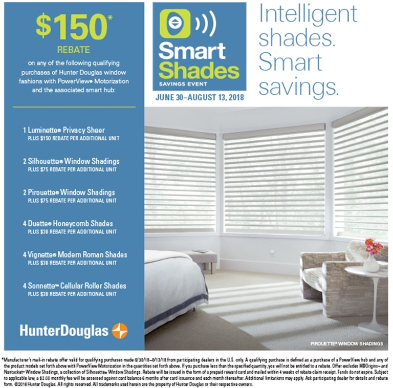 2018 Hunter Douglas Smart Shades Savings Event in Newtown, Pennsylvania (PA)